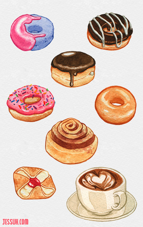 Watercolor painting of an assortment of donuts, pastries and a latte