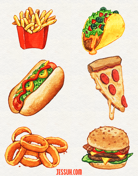 Watercolor painting of french fries, a hotdog, taco, cheeseburger, onion rings and a slice of pizza