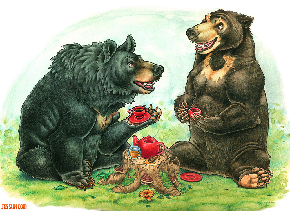 Watercolor and colored pencil painting of a moon bear and a sun bear drinking tea with honey from red tea cups and teapot