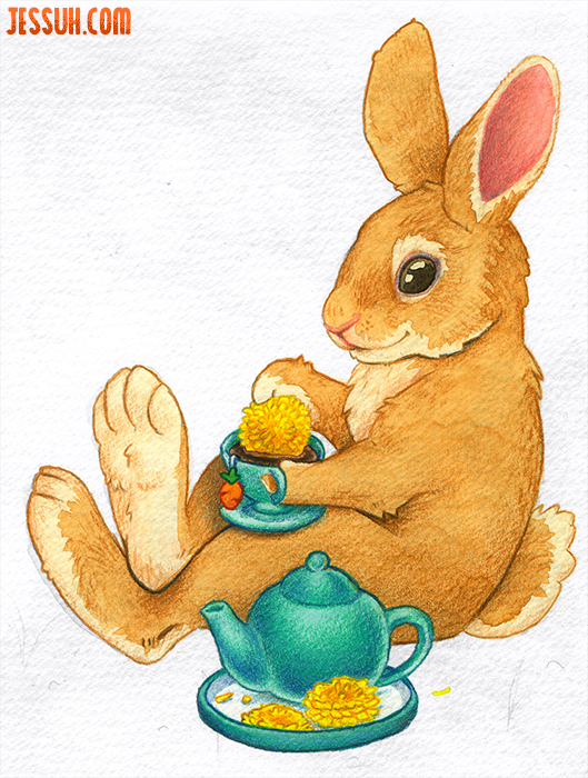 Watercolor painting of a tan bunny snacking on dandelions and drinking tea from a turquoise tea cup and teapot