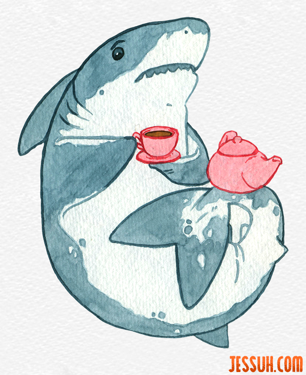 Watercolor painting of a shark drinking tea from a pink tea cup and teapot