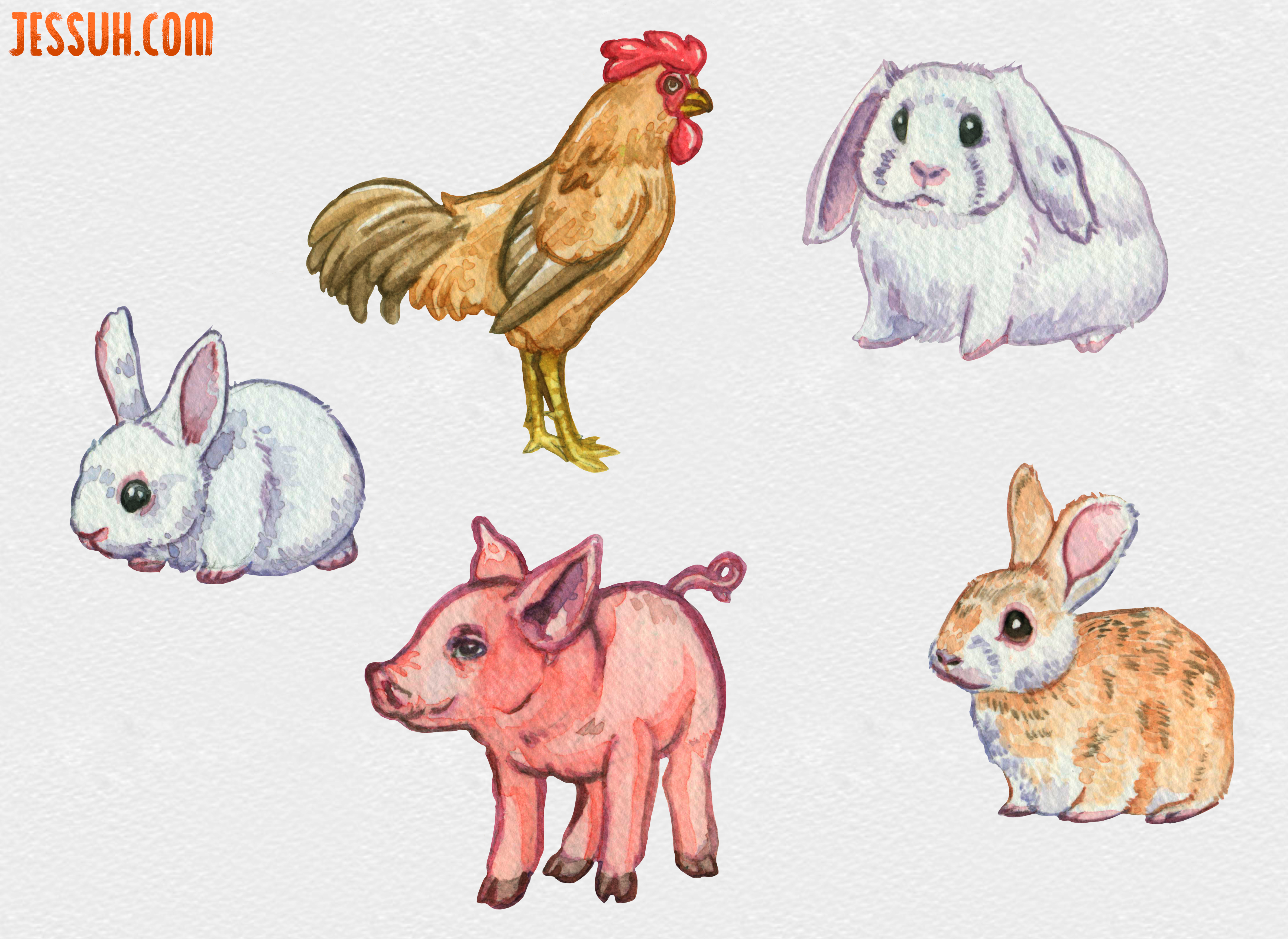 Watercolor painting of two white rabbits, a tan bunny, pink piglet and brown rooster