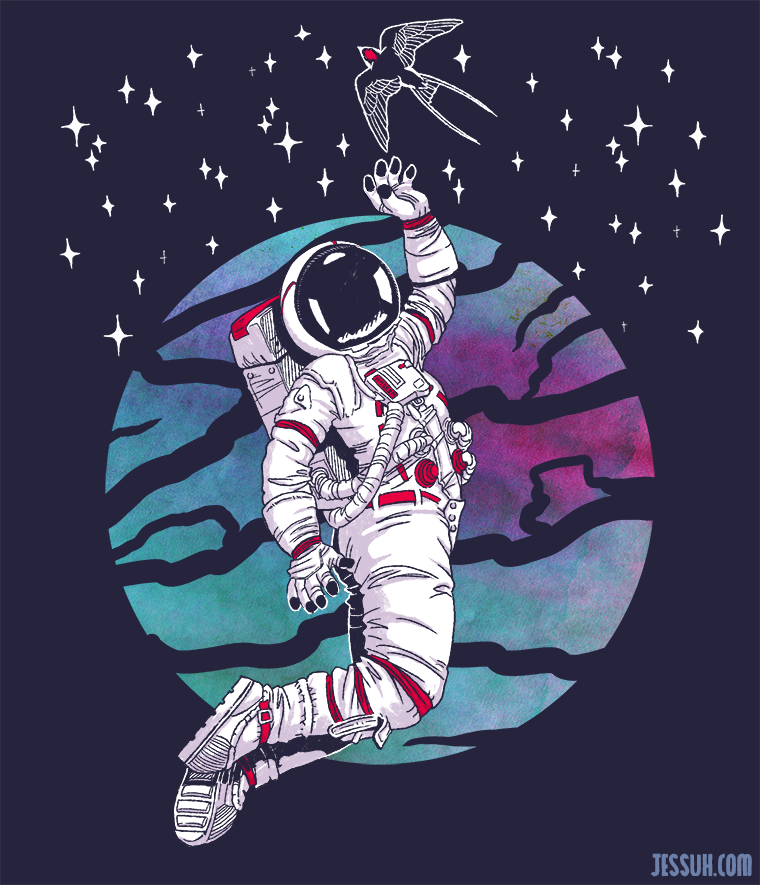 Digital drawing of an astronaut floating in space and reaching for a stellar sparrow